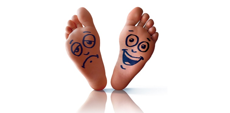 Happy foot and sad foot isolated in white background