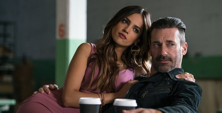 Buddy (JON HAMM) and Darling (EIZA GONZALEZ) find out why Baby always listens to music in TriStar Pictures' BABY DRIVER. (2017)