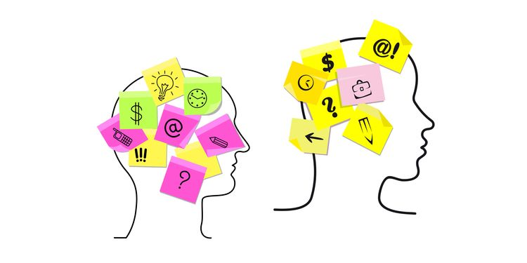 Vector design with the outlines of the heads of a multitasking man and woman with colorful sticky memos stuck to them detailing a variety of different task icons for time management