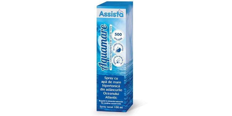 aquamare spray apa mare hipertonica, assista, catena, solutie salina, rinita alergica, congestie nazala, aquamare,
